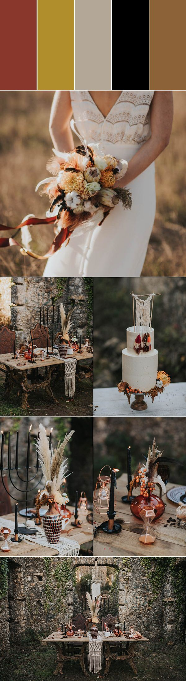 We love the vibes from this rust, amber, beige, black, and brown wedding | photos by Hugo Coelho Fotografia
