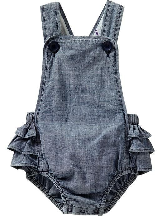 Chambray Ruffled-Romper Overalls for Baby | Old Navy