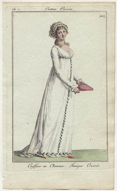 Greek-inspired chemise and headress, 'Costume Parisien', 1797.