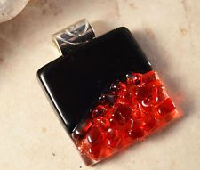 Handcrafted Fused Dichroic Art Glass Pendant BLACK RED Textured