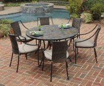 Home Styles Furniture Stone Harbor 7 Piece Dining Set 51 inch Dining Table and Six Laguna Arm Chairs
