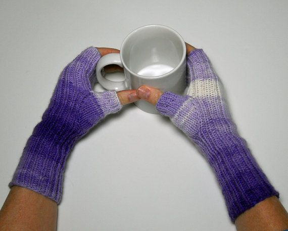 Knit Texting Gloves Fingerless Mitts Winter by CustomBearHugs