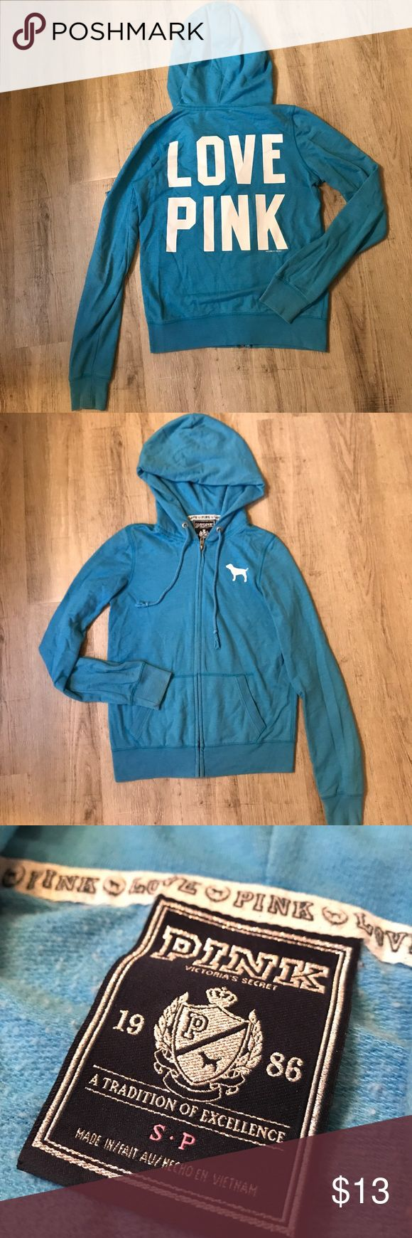 PINK Victoria's Secret blue zip up, small Light weight PINK by Victoria's Secret blue hooded zip up. White PINK dog logo on upper chest with LOVE PINK white lettering across the back. Size small. Comes from a smoke free home. PINK Victoria's Secret Sweaters Cardigans