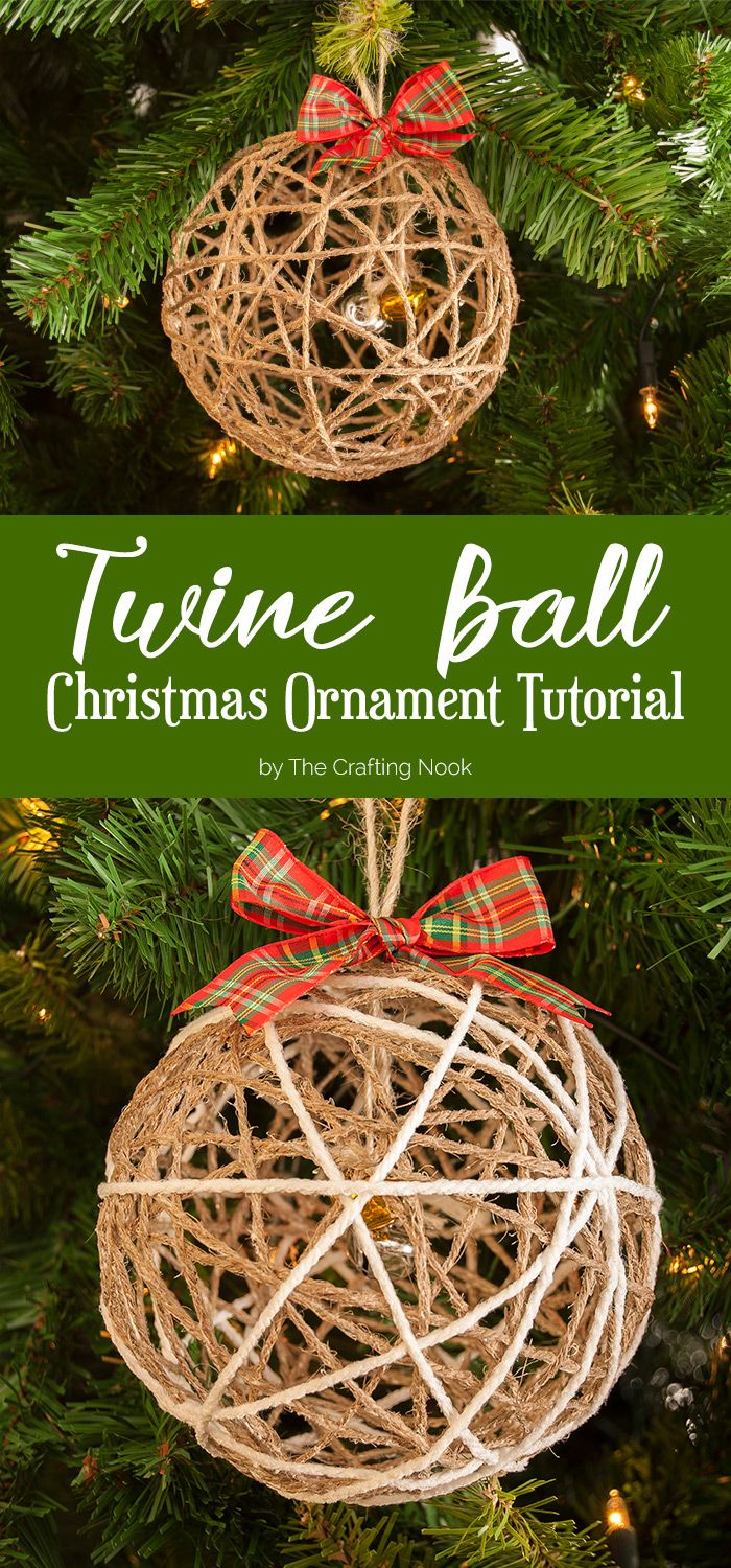Christmas tree picture frame ornaments - Twine Ball Christmas Ornament Tutorial