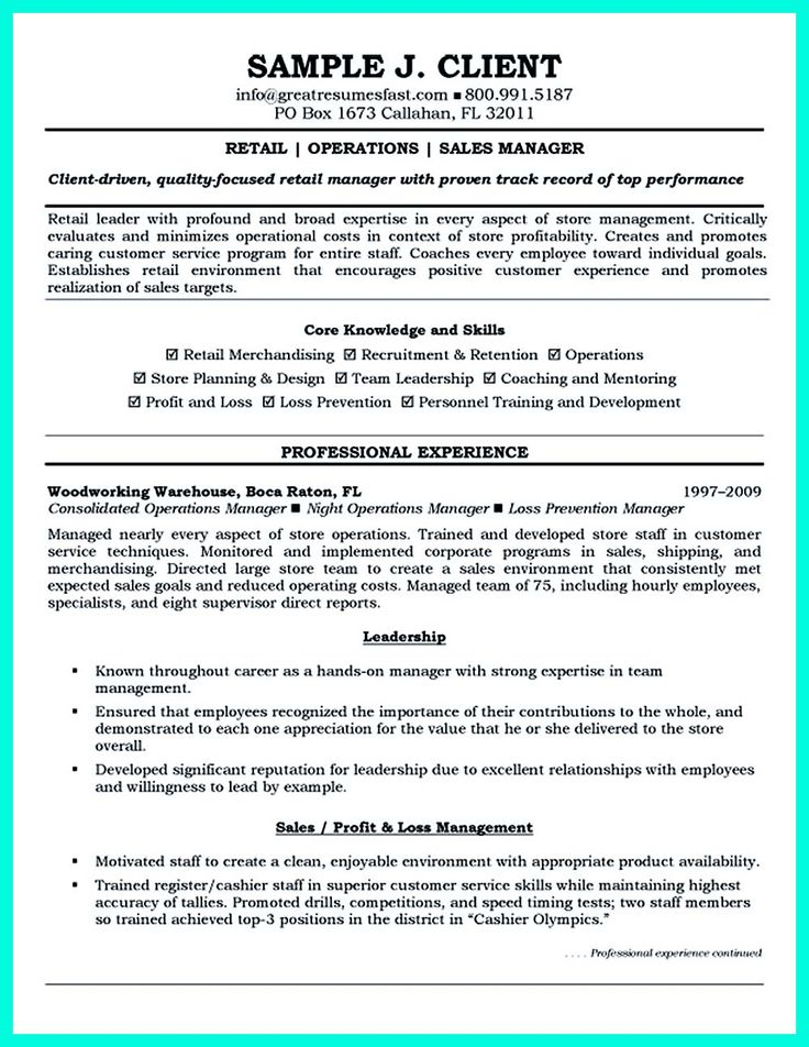 Retail manager resume is made for those professional employments - great resumes fast