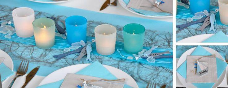 Tischdekoration zur Kommunion oder Konfirmation in Mintblue mit Schiffen und Fischen