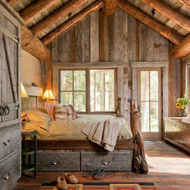 Cozy cabin rustic cabin interiors pinterest love for Cabin bedroom designs