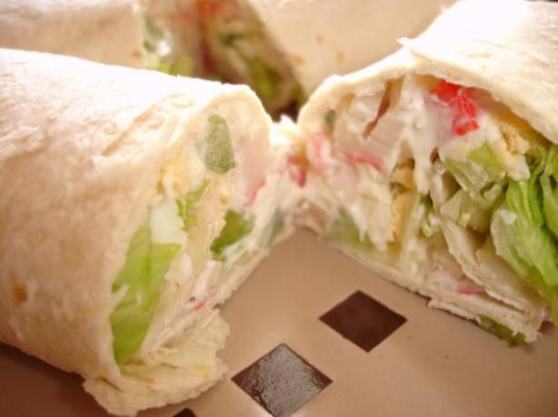 "Crab Salad Tortilla Wraps * Subway Copycat from Food.com:   								The kids told me this was definitely a ""keeper"" of a recipe.   The hard-boiled egg really adds some depth to the flavor.  Add your own flavorites to accommodate your family's tastebuds."