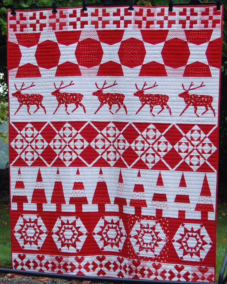 Jumper Quilt, a red and white row quilt, for the Christmas 2014 issue of Fat Quarterly. Blocks by Joanne, Susan, Nicky, Juliet, Lynne (Goldsworthy) and Joanna. Posted by Rose & Dahlia