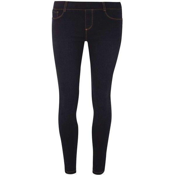 Dorothy Perkins Petite Blue Black Eden Jeggings ($28) ❤ liked on Polyvore featuring pants, leggings, blue, petite, petite cotton pants, blue jean leggings, petite leggings, blue jeggings and petite trousers