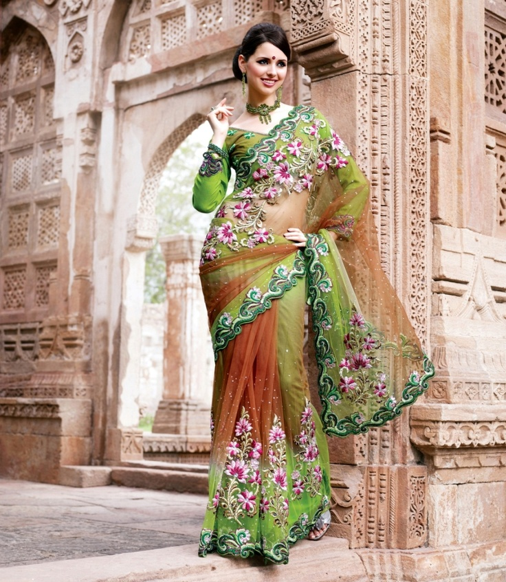 Multicolour shaded saree crafted on net, dupian and satin material.    For more details visit www.ashika.com