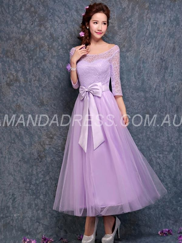 amandadress.com.au SUPPLIES 3/4 Length Sleeves Fall Tea-Length Lace-up Spring Natural Bowknot Purple Dress Purple Bridesmaid Dresses