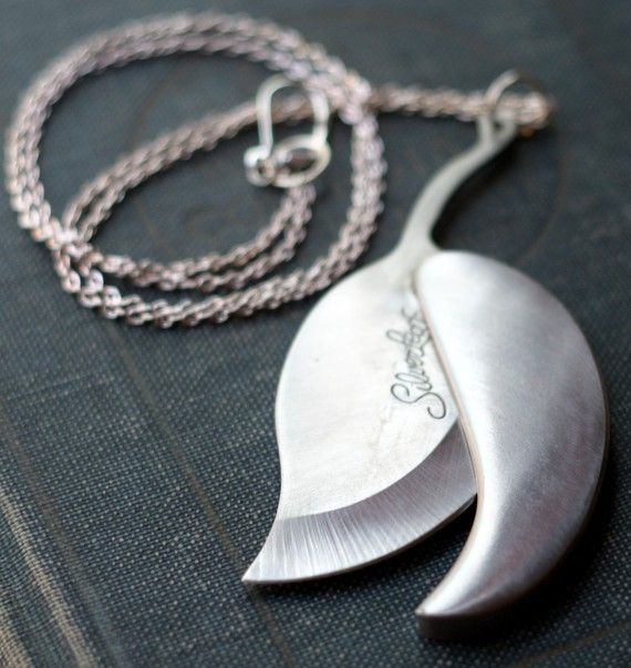 Silver Leaf Pocket Knife Necklace by contrary on Etsy
