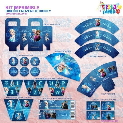 Kit imprimible Frozen espectacular para decorar tu fiesta