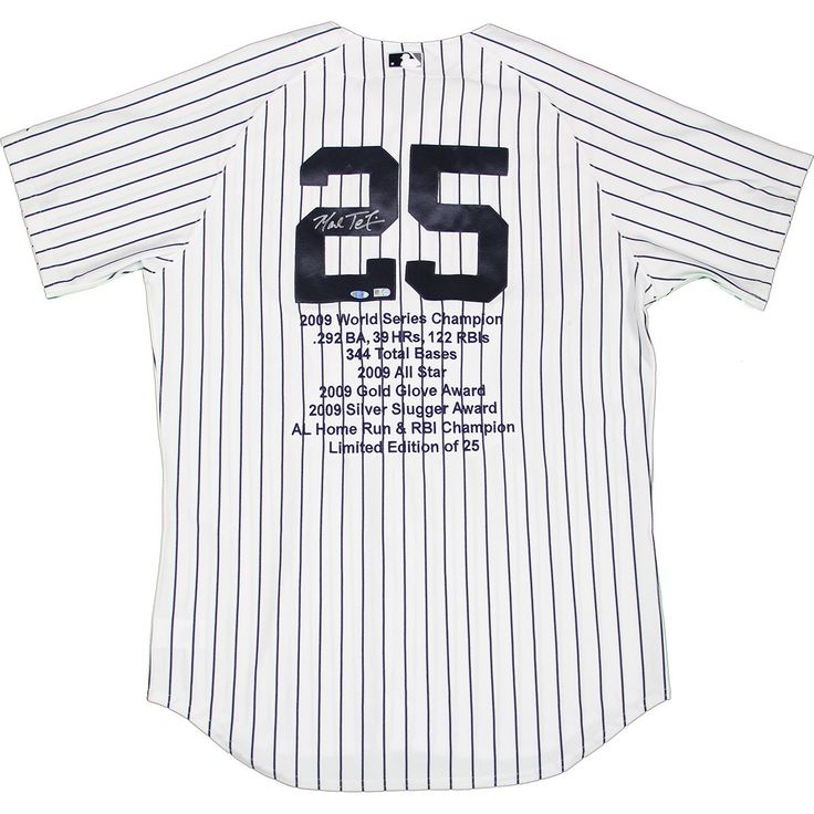 Steiner Mark Teixeira Signed Yankees Authentic Home Pinstripe Jersey w/ Embroidered Stats