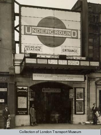 Vintage photograph of Highgate tube station London