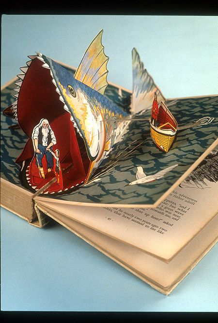 Close up of pop-up scene of Pinochio and the whale,  Image number:SIL94-001