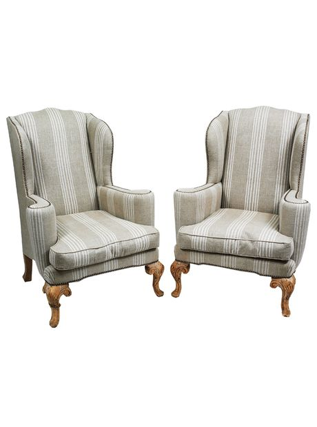 pair of 19th c english upholstered wing chairs