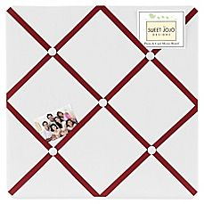 image of Sweet Jojo Designs Hotel Fabric Memo Board in White and Red