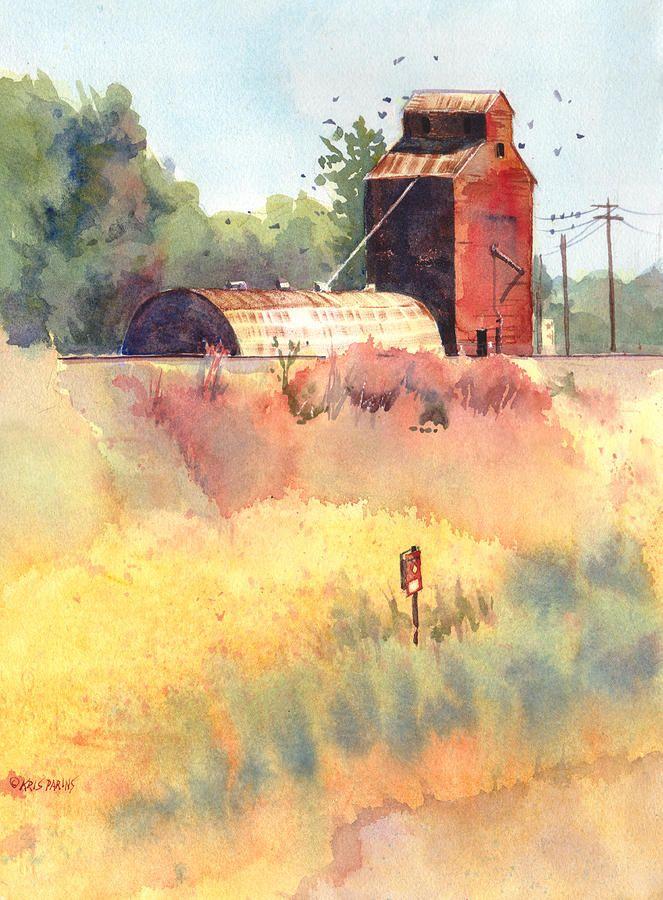 ***Painting of grain elevator (South Dakota) by Kris Parins
