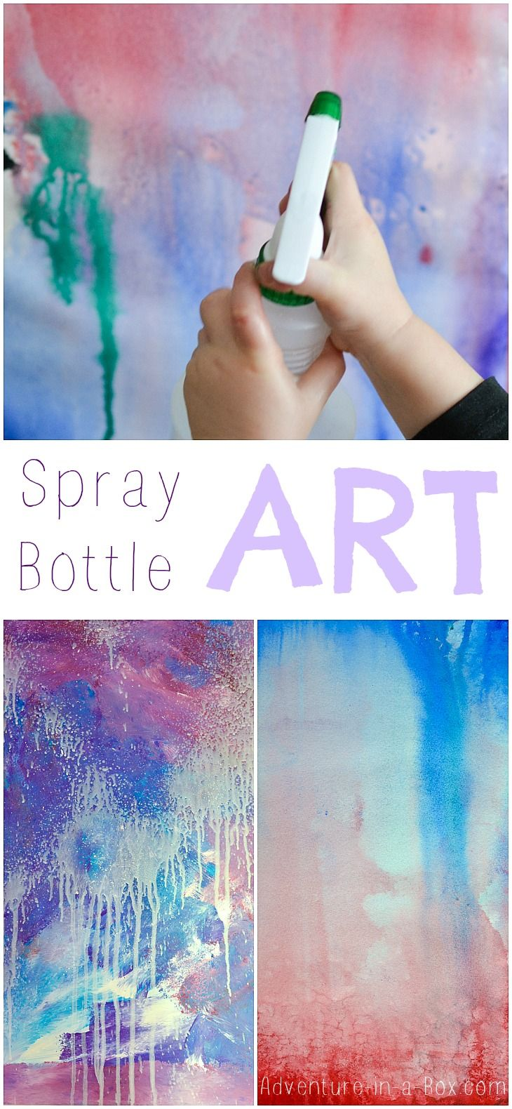 Spray Bottle Art for Kids: a splash of colours and fun! This process art activity guarantees a lot of giggles.