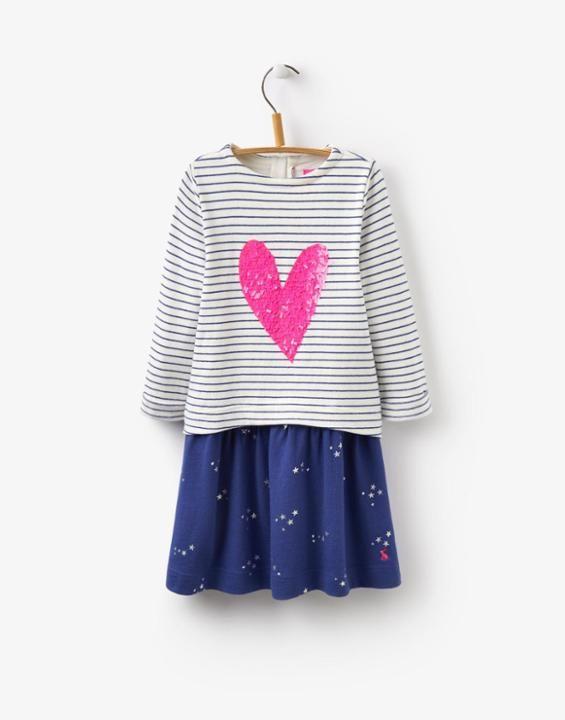 Lucy Navy Stripe Sweatshirt Dress   Joules UK