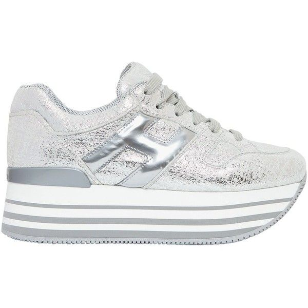 Hogan Women 70mm Maxi 222 Metallic Leather Sneakers ($525) ❤ liked on Polyvore featuring shoes, sneakers, silver, platform shoes, leather upper shoes, metallic platform shoes, leather trainers and metallic shoes
