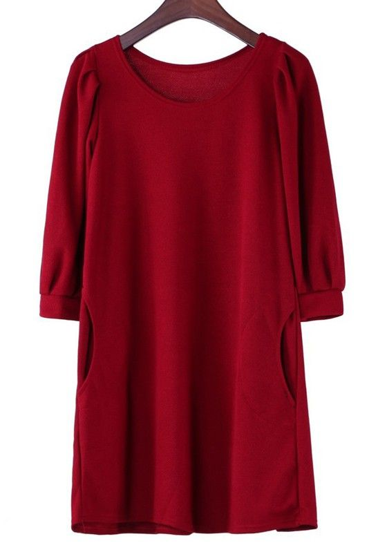 Classic Chistmas Red Plain Cap Sleeve Loose Cotton Dress #red #love #dress