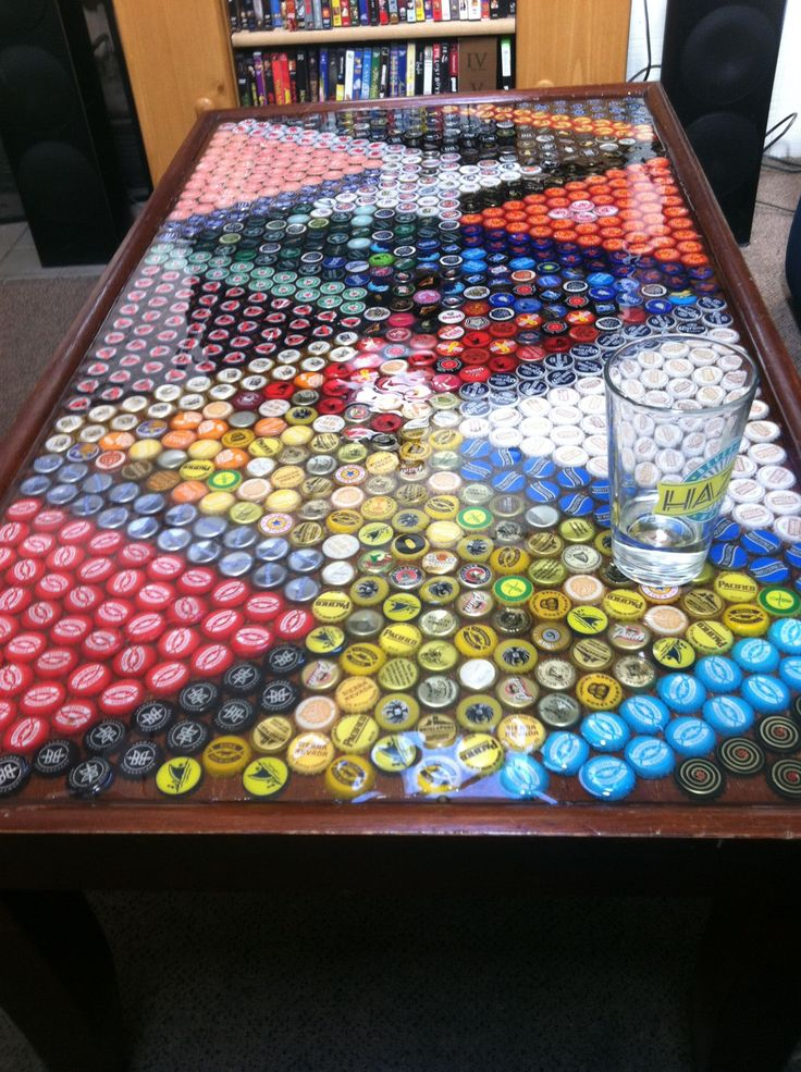 bottle cap furniture. my roommates and i drank a lot of beer made table bottle cap furniture y