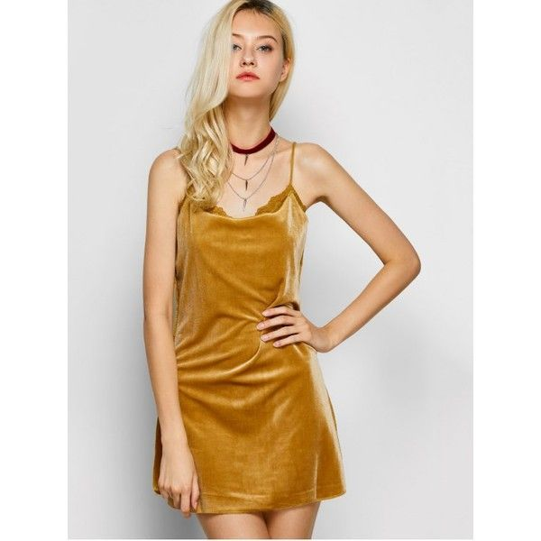 Velour Lace Panel Mini Dress Yellow ($14) ❤ liked on Polyvore featuring dresses, lace insert dress, short dresses, lace panel dress, yellow day dress and mini dress