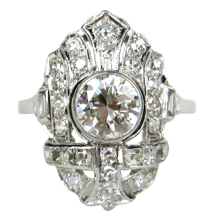 1920s Art Deco Filligree Diamond Platinum Ring 1.78 Carats | From a unique collection of vintage engagement rings at http://www.1stdibs.com/jewelry/rings/engagement-rings/