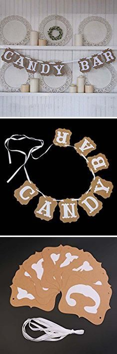 Wedding Candy Bar Bags. Shopline CANDY BAR Bunting Banner Sign for DIY Wedding Parties Reception Buffet Decoration.  #wedding #candy #bar #bags #weddingcandy #candybar #barbags