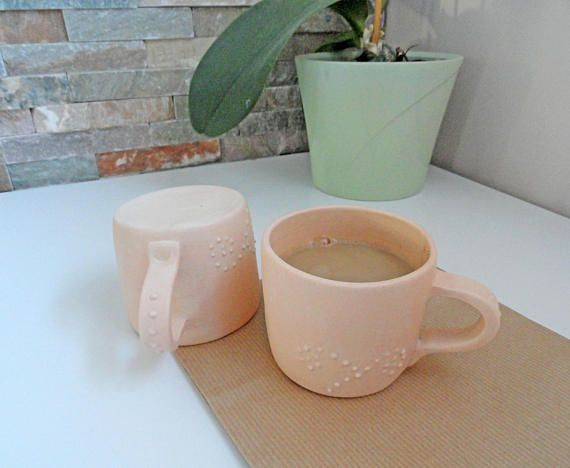 Handmade Ceramic Mugs /  Orange  Mugs / Ceramic Mugs Set /