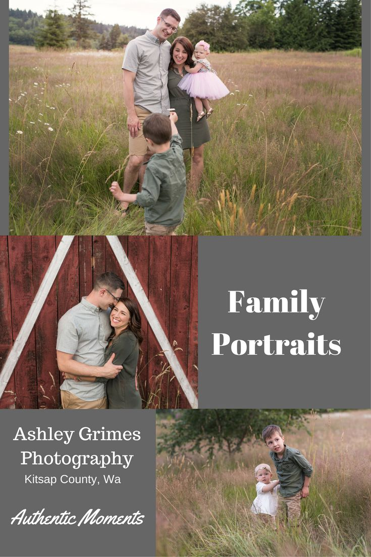 Family pictures at a farm with a barn in Poulsbo, Washington
