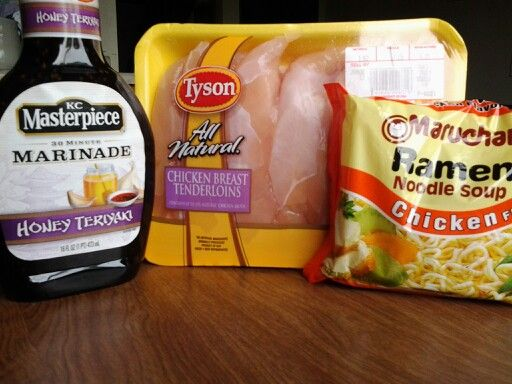 Finger licking good Chicken Teriyaki and noodles....Chop up your chicken into cubes, add the Teriyaki sauce and let it marinate for 30 minutes....Cook on high until theres a thick coating on your chicken....Do not use the Romen noodles mix, just boil as you normally would and add it to your Chicken Teriyaki and stir....Easy as pie!