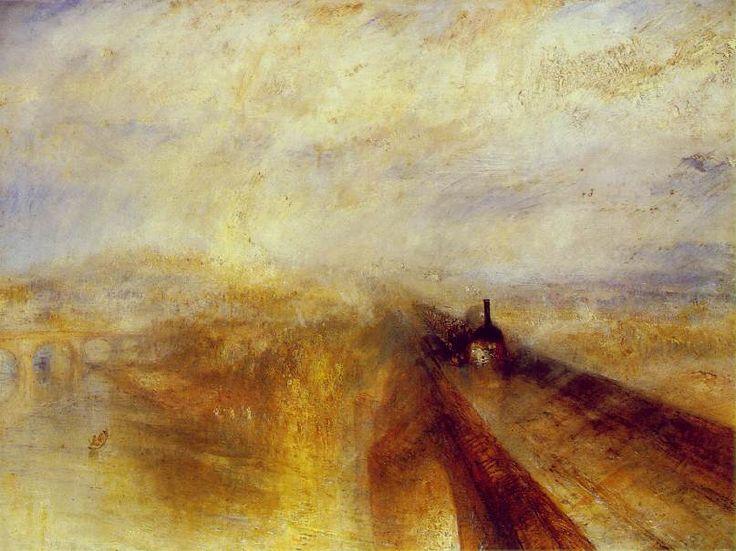 [증기선과 기차] <비, 증기, 그리고 속도> - 윌리엄 터너: 터너는기차의 속도를 몸소 체험하기 위해 폭우가 쏟아지는 날 달리는 열차의 창문 밖으로 고개를 내밀고 10여 분 이상이나 비 오는 열차의 풍경을 온몸으로 느끼며 관찰하였다. 그 결과 탄생한 작품이 바로 <비, 증기, 그리고 속도>이다.