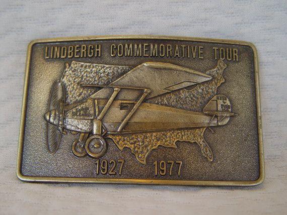 Solid Brass Belt Buckle Lindbergh Commemorative by GandTVintage, $15.00