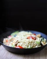 Summer Quinoa Stir-Fry  (no one said I can't have meat.  sorry tofu, you're out.)
