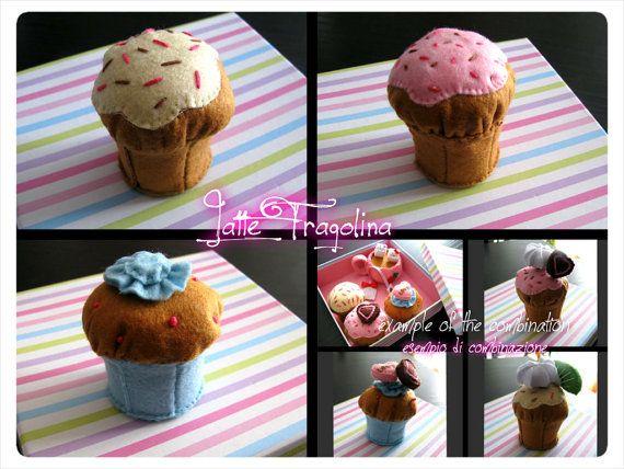 Cupcake giocattolo in feltro  Alimenti cibo in di LatteFragolina, €6.00