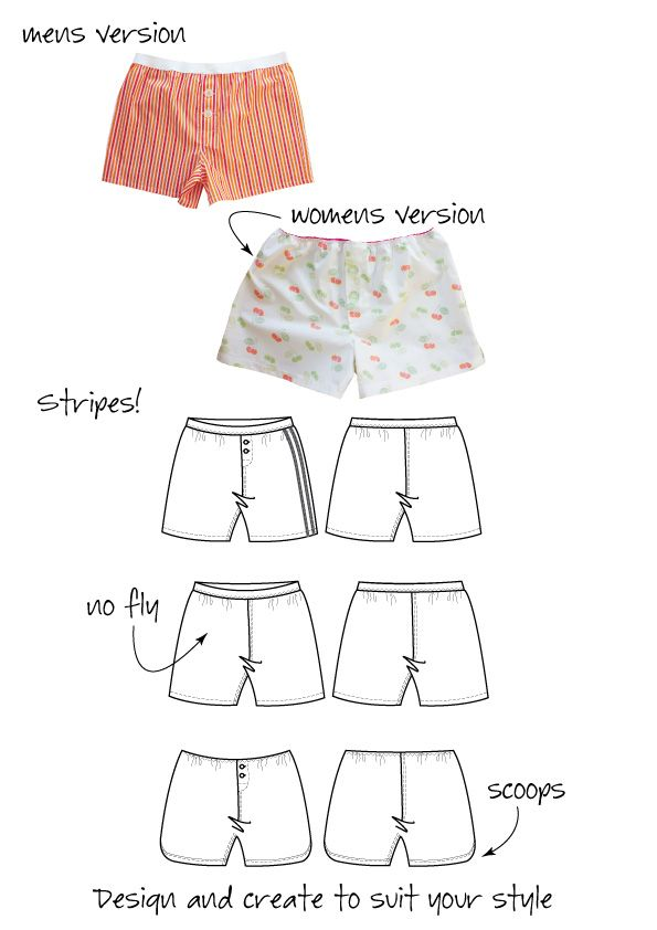 The-Darcy-Boxer-Short-variations pattern - his & hers for woven