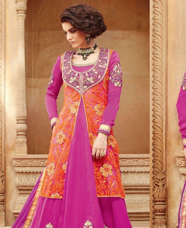 Buy Charming Pink & Orange Anarkali Salwar Kameez online at https://www.a1designerwear.com/charming-pink-orange-anarkali-salwar-kameez Price: $66.76 USD