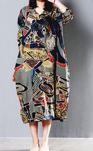 Black floral retro cotton caftan sundress plus size V neck long cotton summer shirt