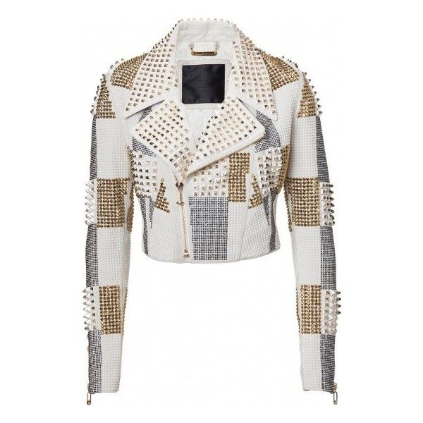 """leather jacket """"luciana"""" PHILIPP PLEIN ($4,790) ❤ liked on Polyvore featuring outerwear, jackets, veste, leather jackets, philipp plein jacket, white summer jacket, summer leather jacket and 100 leather jacket"""