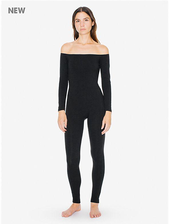Cotton Spandex Off-Shoulder Long Sleeve Catsuit