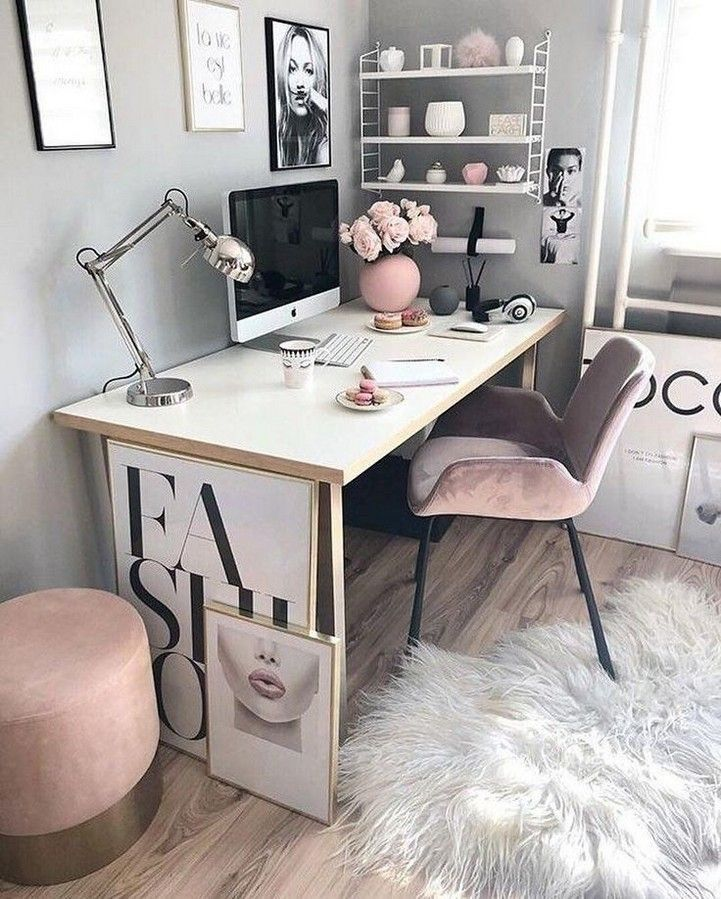 Aesthetic Bedroom In 2020 Cozy Home Office Home Office Design Home Office Space