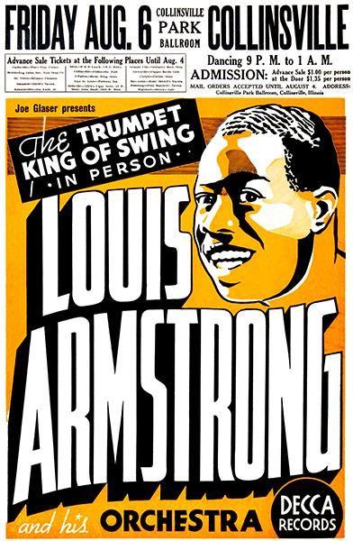 Louis Armstrong - Collinsville Park Ballroom - 1937 - Concert Poster