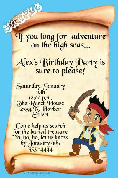 17 Best images about Jake Party – Free Jake and the Neverland Pirates Birthday Invitations