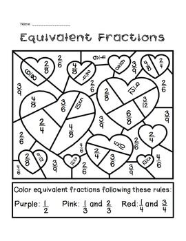 Fun activity for the week of Valentine's Day! Students identify equivalent fractions and follow the key to color in the picture. It's hard to find time to squeeze in holiday activities, especially in classrooms that are preparing for state testing. This activity gives students an opportunity to practice identifying equivalent fractions and then have a little holiday fun! Great for morning work, as a math center, or for homework.