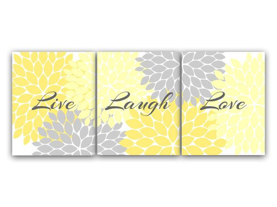 Home Decor Wall Art, Live Laugh Love, Yellow Wall Art, Flower Burst Bathroom Wall Decor, Yellow and Grey Bedroom Wall Art - HOME54