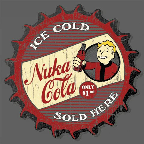 Nuka Cola T-Shirt Since 2044 this tasty soda has been a thirst quencher for millions! Even after the Great War, Nuka Cola remains one of the most popular soft drinks of the post-apocalyptic world! Don